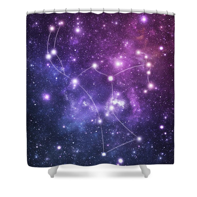 Black Color Shower Curtain featuring the photograph The Stars Constellation Of Orion by Sololos