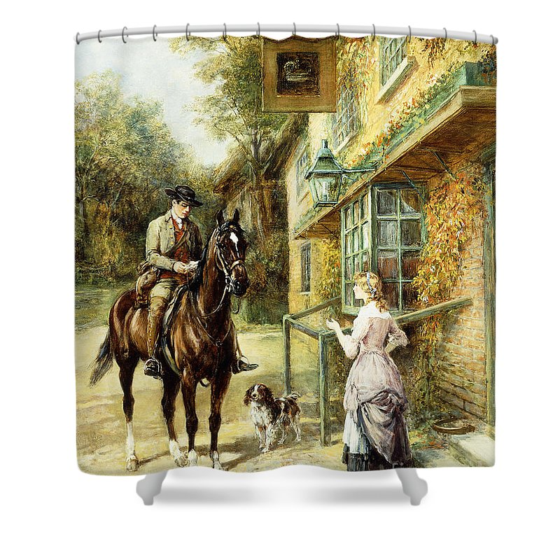 The Village Postman Shower Curtain featuring the painting The Village Postman by Heywood Hardy