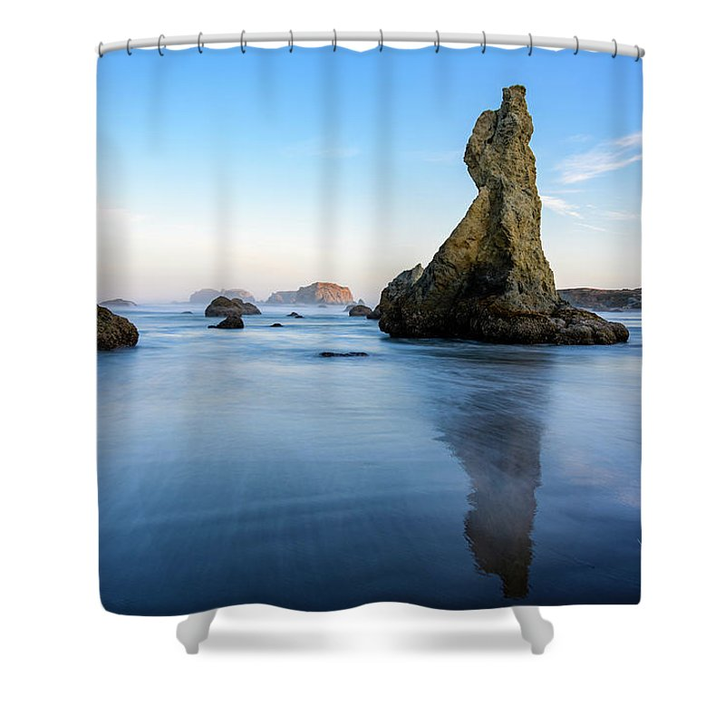 Bandon Beach Shower Curtain featuring the photograph The Witchs Hat by Jim Thompson