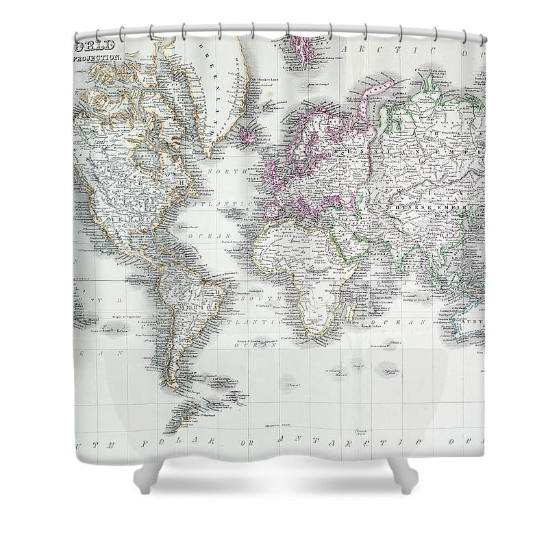 Styles Shower Curtain featuring the digital art The World On Mercators Projection by Andrew howe