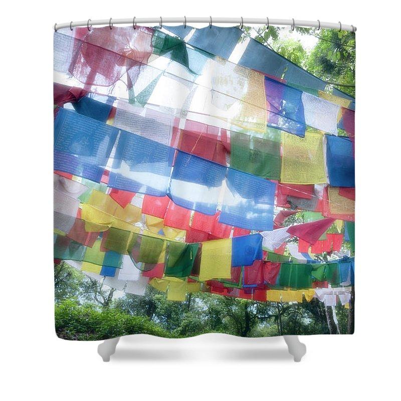 Hanging Shower Curtain featuring the photograph Tibetan Buddhist Prayer Flags by Glen Allison