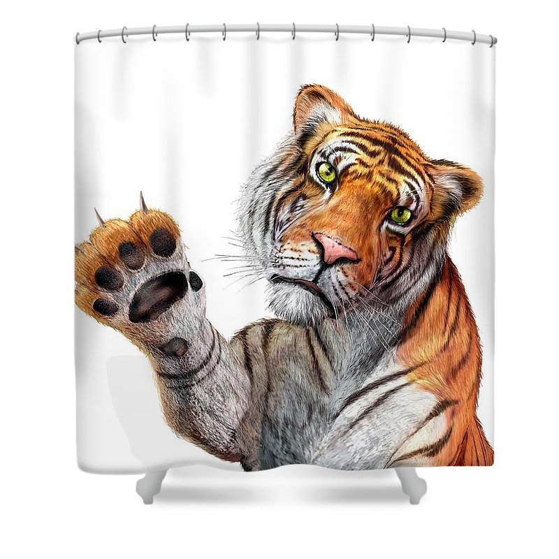 White Background Shower Curtain featuring the digital art Tiger, Artwork by Leonello Calvetti