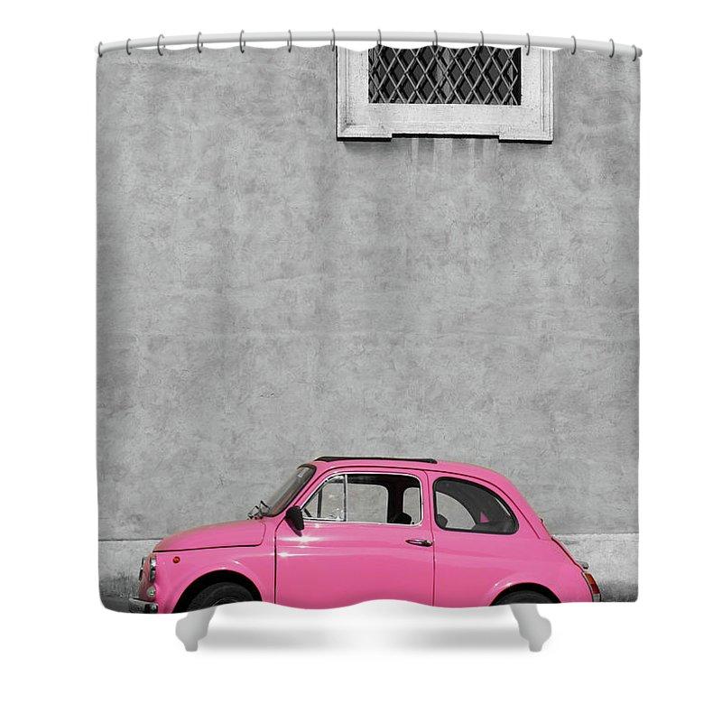 Sparse Shower Curtain featuring the photograph Tiny Pink Vintage Car, Rome Italy by Romaoslo