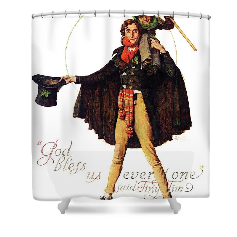 Christmas Carol Shower Curtain featuring the drawing Tiny Tim by Norman Rockwell