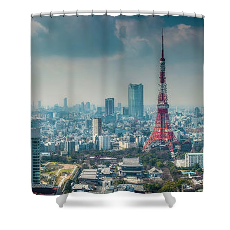 Tokyo Tower Shower Curtain featuring the photograph Tokyo Tower Futuristic Skyscraper by Fotovoyager