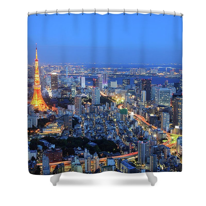 Tokyo Tower Shower Curtain featuring the photograph Tokyo Tower View From Mori Tower by Krzysztof Baranowski
