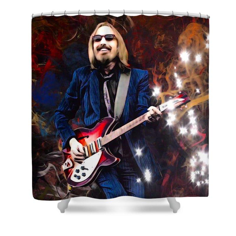 Tom Petty Shower Curtain featuring the digital art Tom Petty Portrait by Scott Wallace Digital Designs