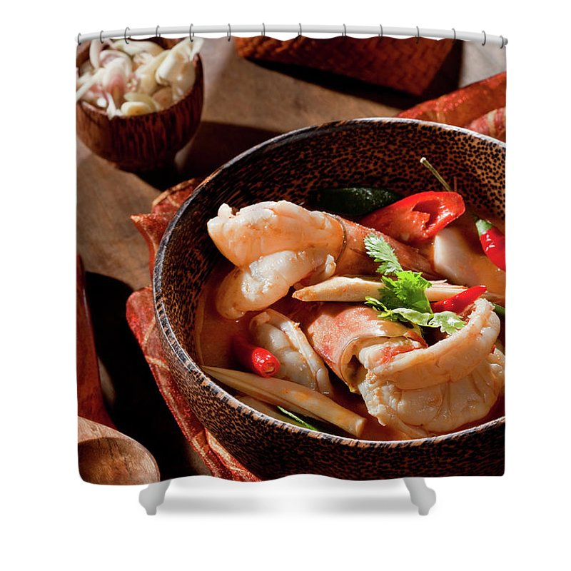 Asian And Indian Ethnicities Shower Curtain featuring the photograph Tom Yum Kung by Shutterworx