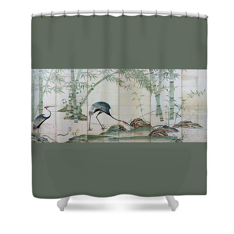 Ogata Korin Shower Curtain featuring the digital art Top Quality Art - Cranes Pines And Bamboo by Ogata Korin