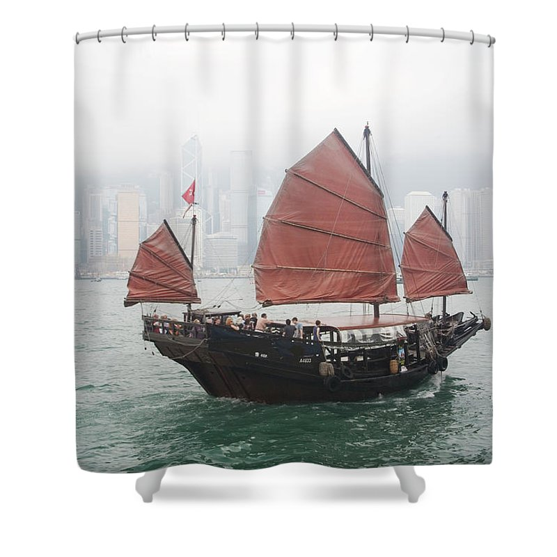 Outdoors Shower Curtain featuring the photograph Tourist Junk On Cruise by Romana Chapman