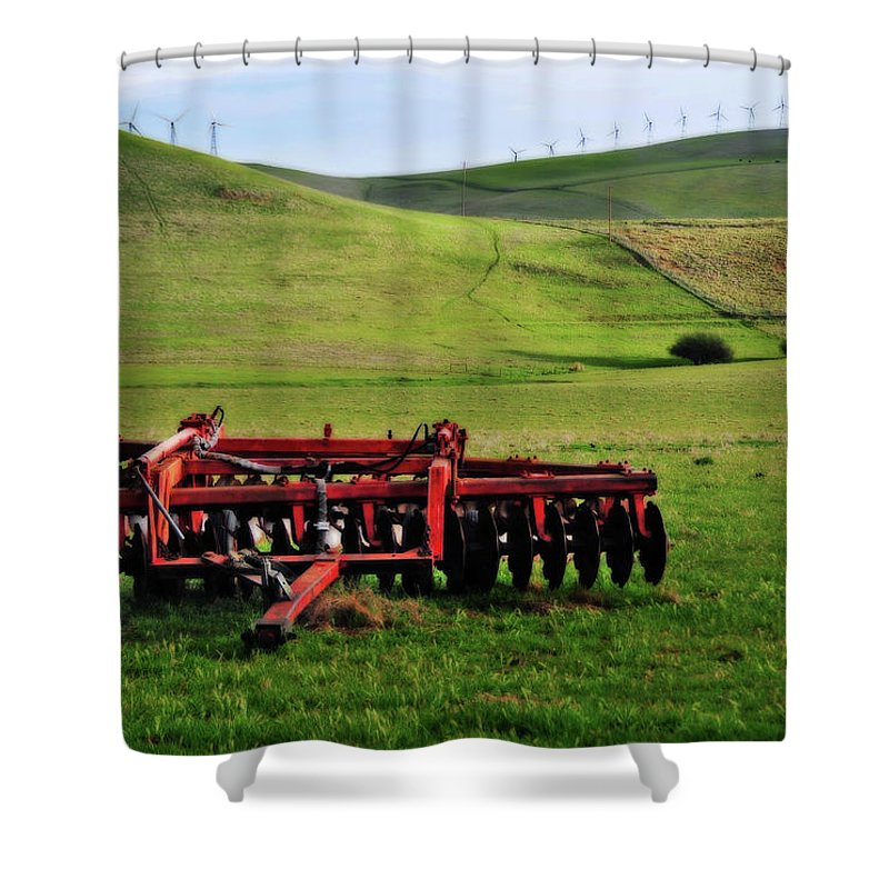 Working Shower Curtain featuring the photograph Tractor Blades On Green Pasture by Mitch Diamond