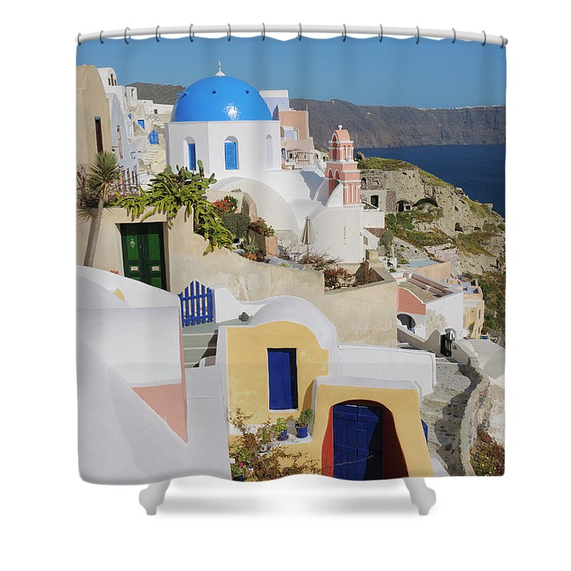 Greek Culture Shower Curtain featuring the photograph Traditional Greek Houses And Curch by Martin Ruegner