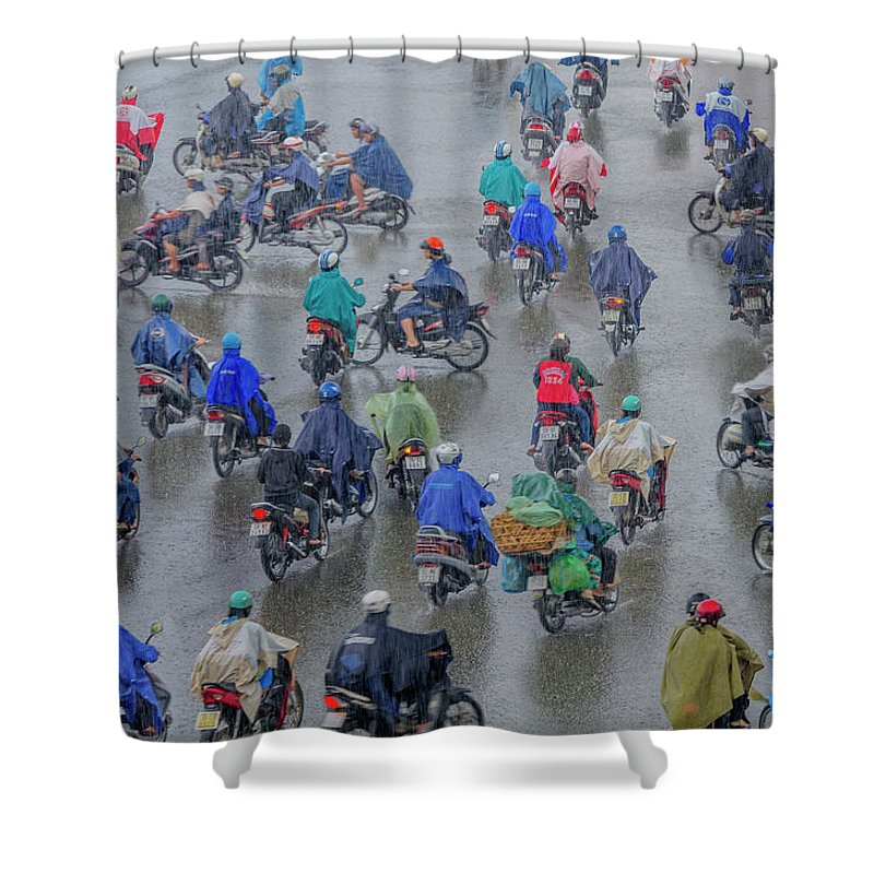 Ho Chi Minh City Shower Curtain featuring the photograph Traffic In Ho Chi Minh City by Rwp Uk