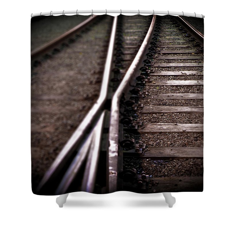 Freight Transportation Shower Curtain featuring the photograph Train Line Crossing by Mikulas1