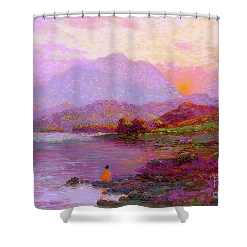 Sun Shower Curtain featuring the painting Tranquil Mind by Jane Small