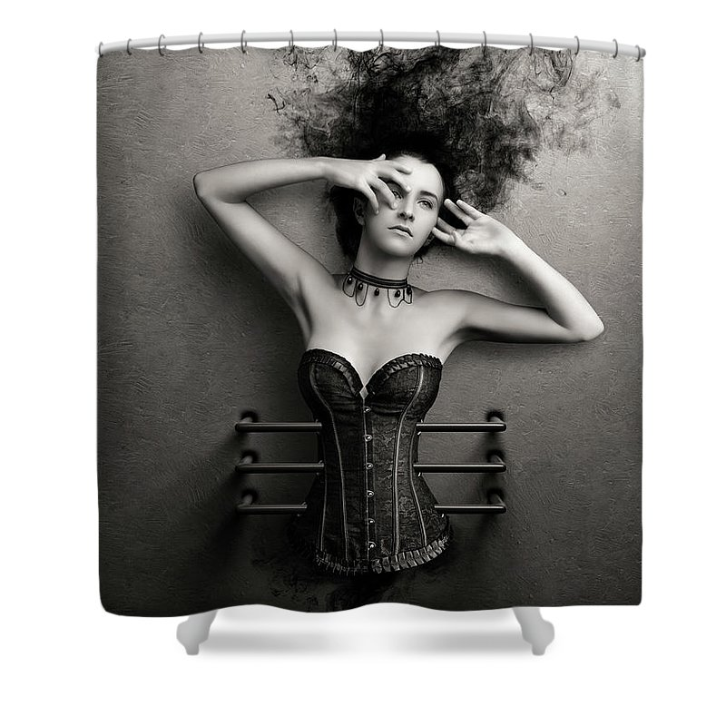 Woman Shower Curtain featuring the photograph Trapped by Johan Swanepoel