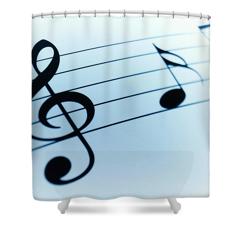 Sheet Music Shower Curtain featuring the photograph Treble Clef And Notes by Adam Gault