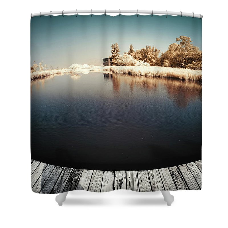 Tranquility Shower Curtain featuring the photograph Trees And Plants In A Pond by D3sign