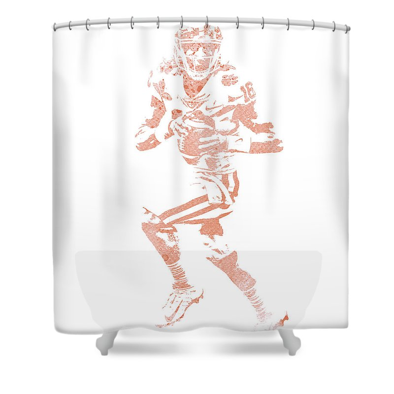 Trevor Lawrence Shower Curtain featuring the mixed media Trevor Lawrence Clemson Tigers Pixel Art 1 by Joe Hamilton