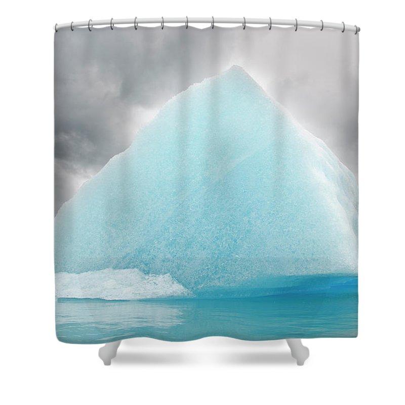Iceberg Shower Curtain featuring the photograph Triangular Iceberg On Gloomy Day, Bear by James + Courtney Forte