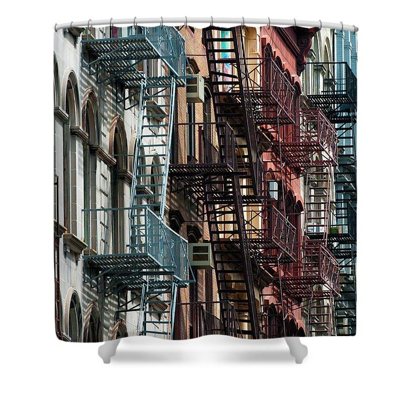 Downtown District Shower Curtain featuring the photograph Tribeca Fire Escapes by Joseph O. Holmes / Portfolio.streetnine.com