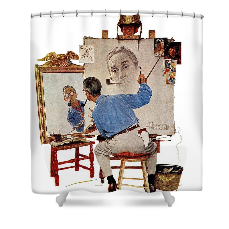 Artists Shower Curtain featuring the drawing Triple Self-portrait by Norman Rockwell