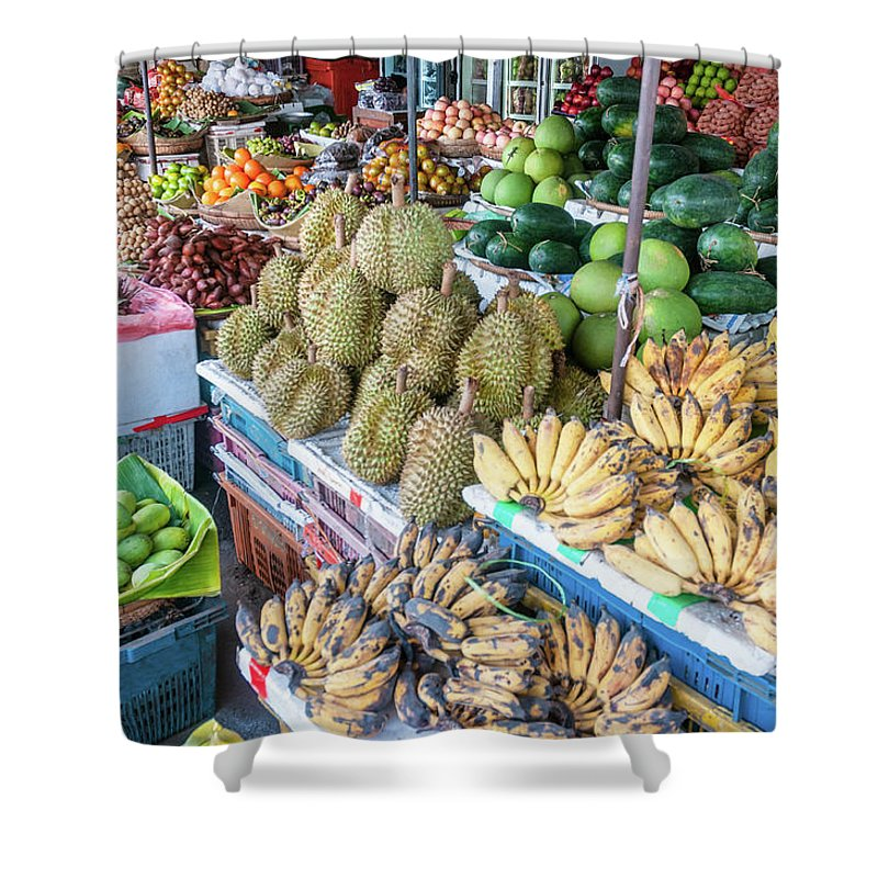Mango Fruit Shower Curtain featuring the photograph Tropical Fruit At A Street Market In by Tbradford