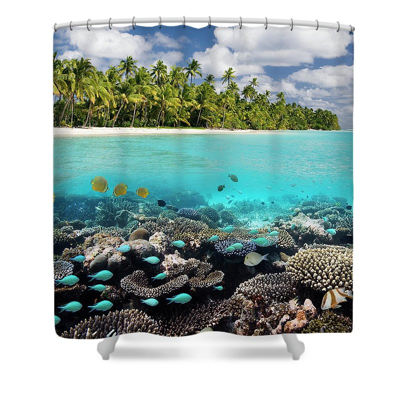 Underwater Shower Curtain featuring the photograph Tropical Paradise - The Maldives by Steve Allen