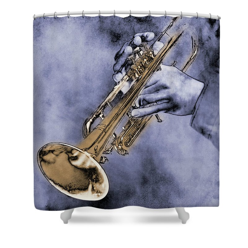 One Man Only Shower Curtain featuring the digital art Trumpet Player by Nick White