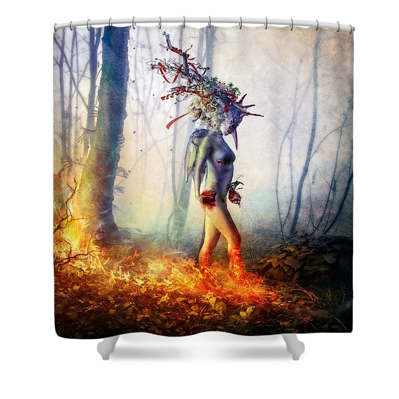 Surreal Shower Curtain featuring the digital art Trust In Me by Mario Sanchez Nevado