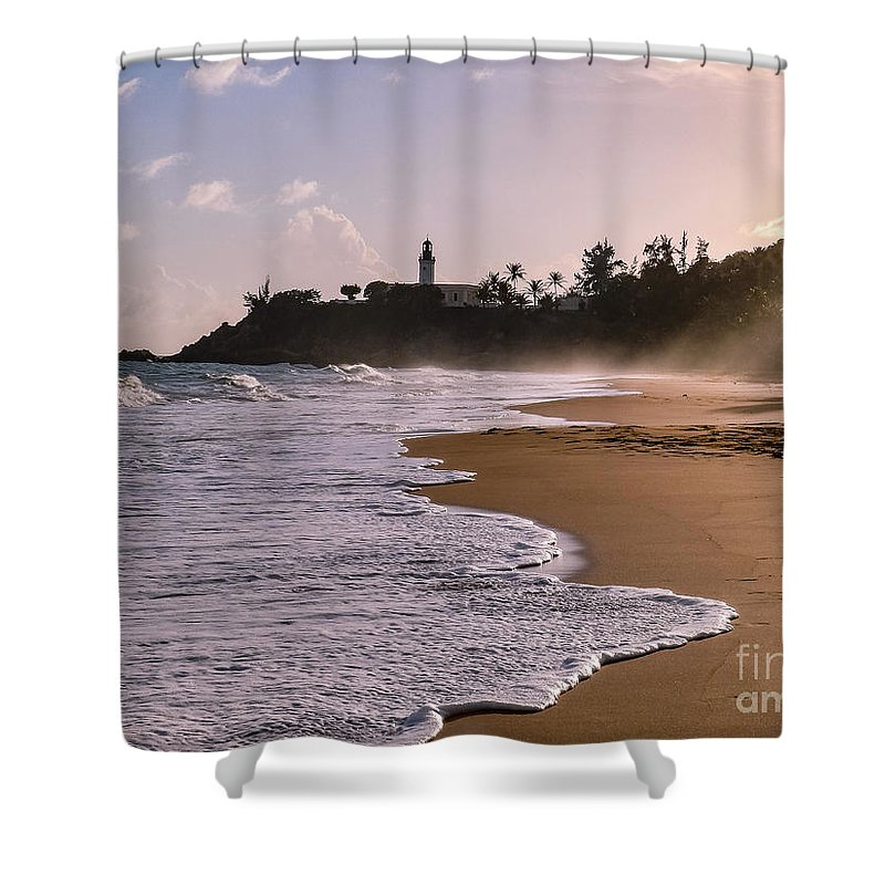 Ocean Shower Curtain featuring the photograph Tuna Punta Lighthouse And Beach In Puerto Rico by G Matthew Laughton