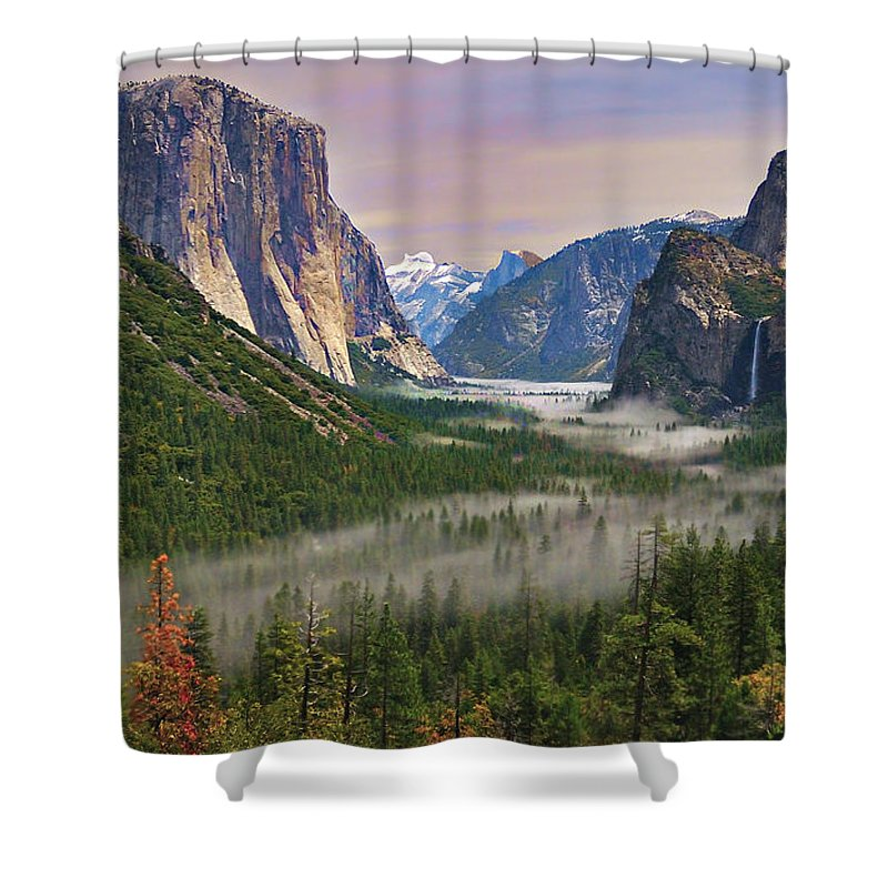 Scenics Shower Curtain featuring the photograph Tunnel View. Yosemite. California by Sapna Reddy Photography