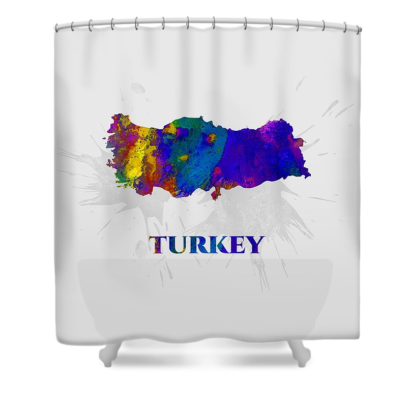 Turkey Shower Curtain featuring the mixed media Turkey, Map, Artist Singh by Artist Singh MAPS