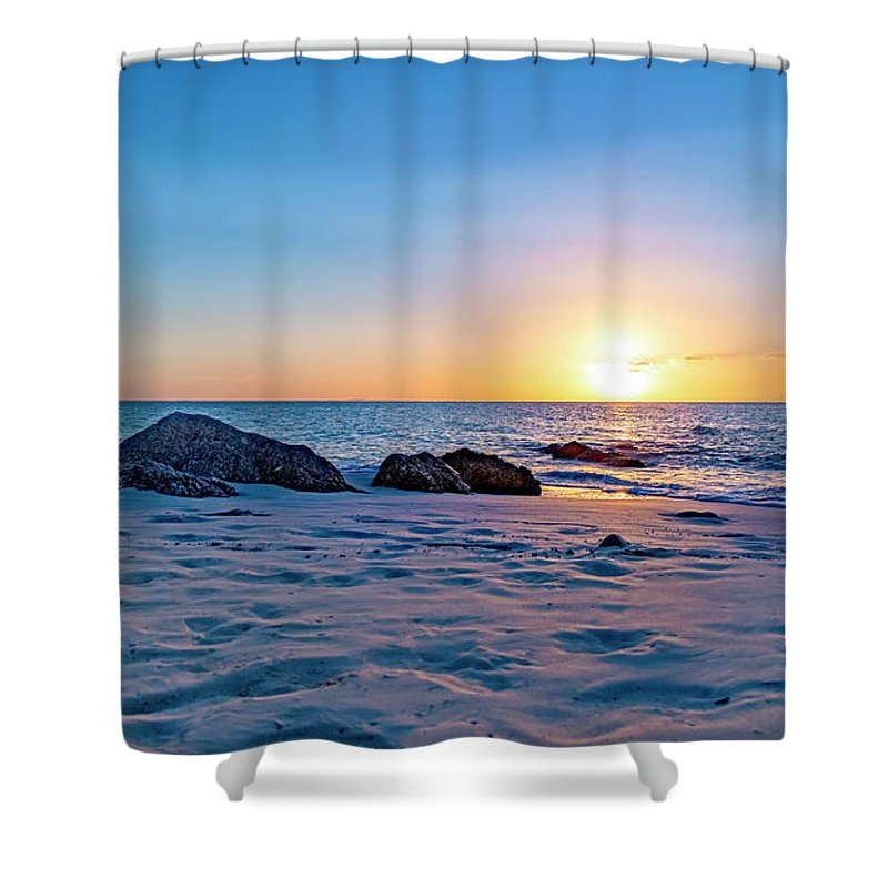 Beach Shower Curtain featuring the photograph Turks And Caicos Tranquil Sunset by Betsy Knapp