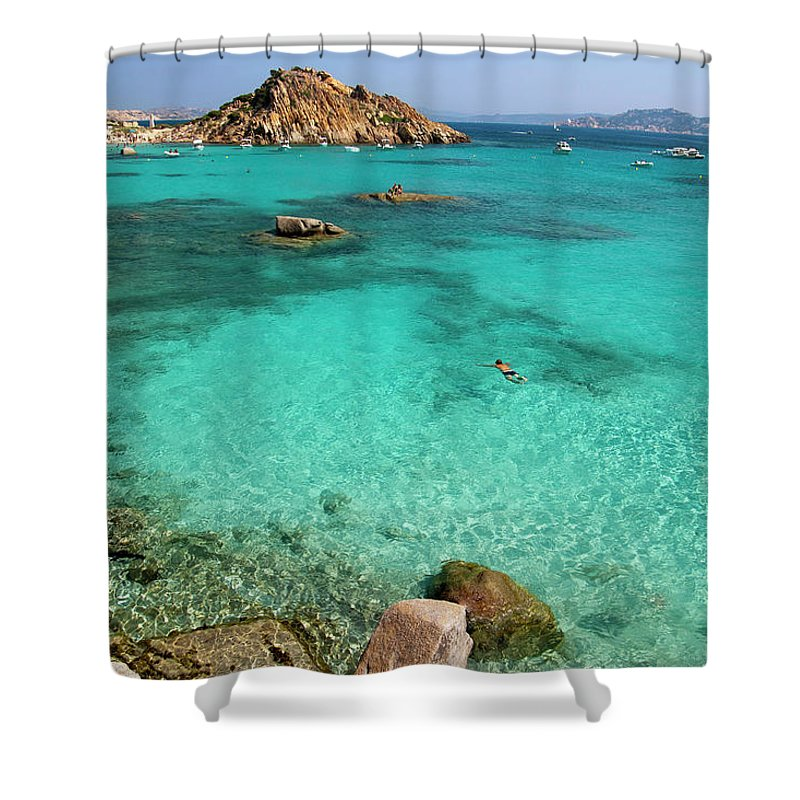 Scenics Shower Curtain featuring the photograph Turquoise Sea And Boats At La Maddalena by Vito elefante