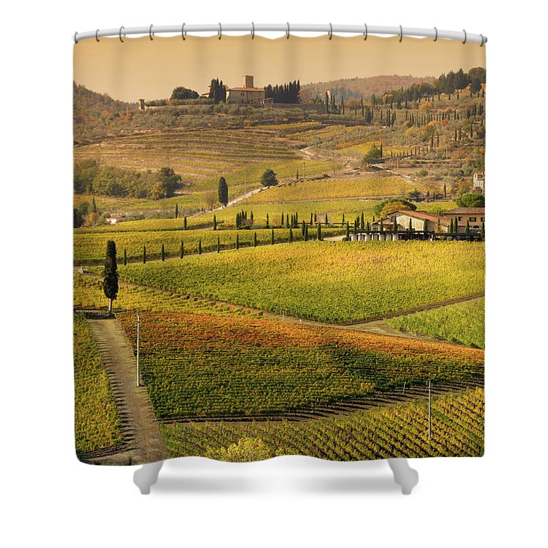 Scenics Shower Curtain featuring the photograph Tuscany Farmhouse And Vineyard In Fall by Lisa-blue