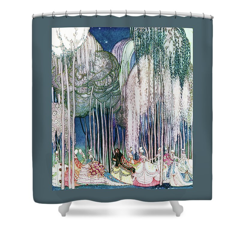 Princess Shower Curtain featuring the painting Twelve Princesses Who Get Out Of The Castle And Dance To The Magical Kingdom by Kay Nielsen