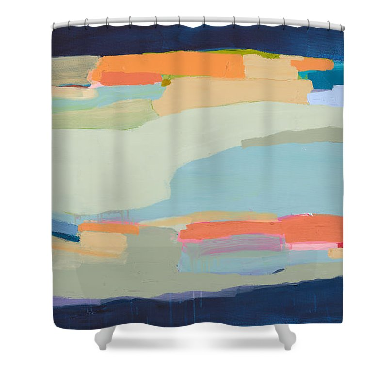 Abstract Shower Curtain featuring the painting Two Beige Dogs by Claire Desjardins