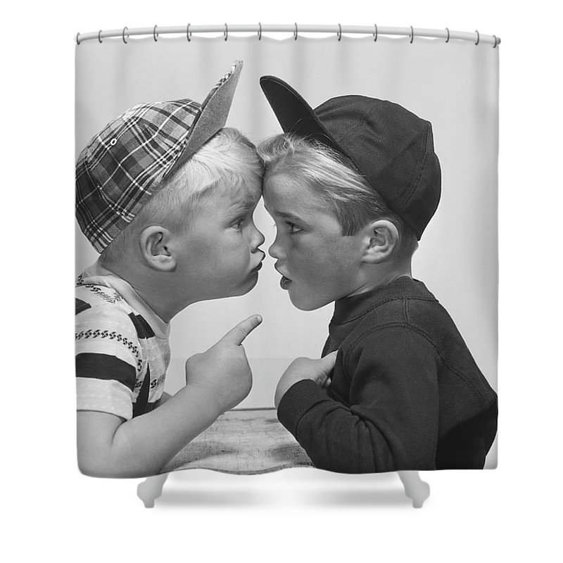 People Shower Curtain featuring the photograph Two Boy Arguing, Close-up by Tom Kelley Archive