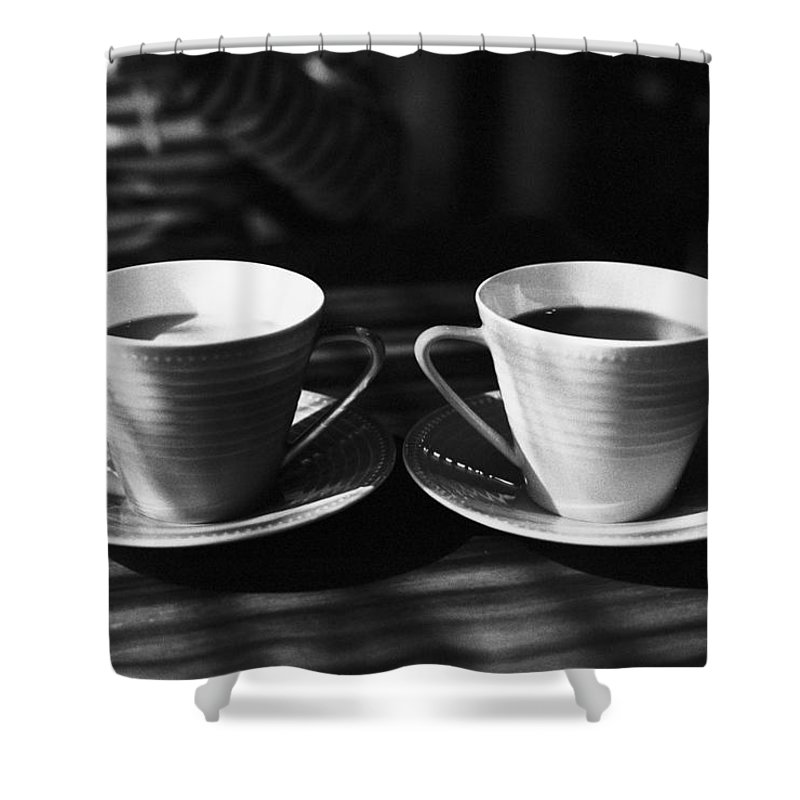 Sunlight Shower Curtain featuring the photograph Two Cups Of Coffee In Sunlight by Breeze.kaze