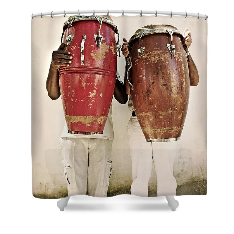 Hiding Shower Curtain featuring the photograph Two Men Holding Bongos In Front Of by Holly Wilmeth