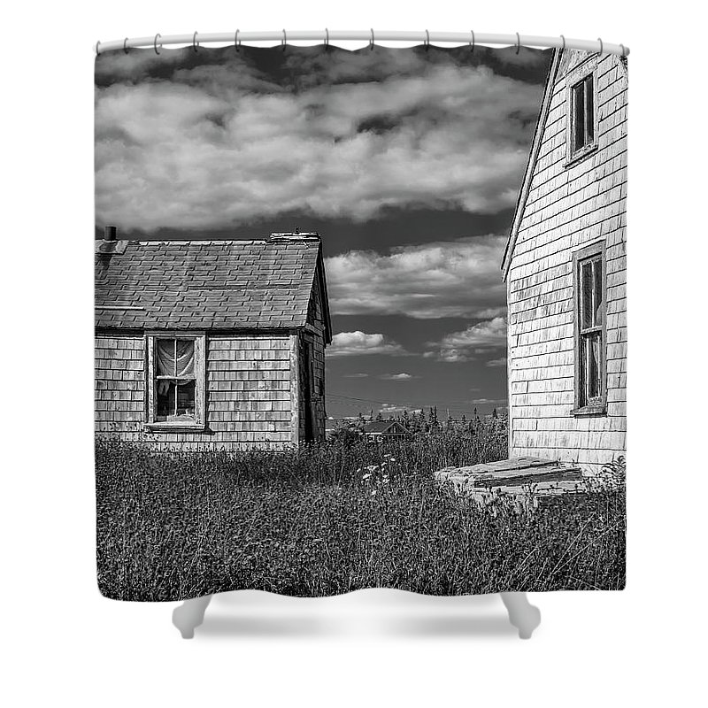 2018 Shower Curtain featuring the digital art Two Sheds In Blue Rocks #2 by Ken Morris