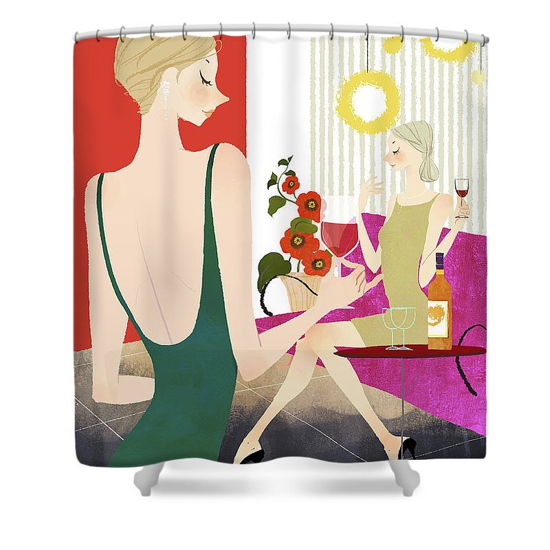People Shower Curtain featuring the digital art Two Woman Drinking Wine by Eastnine Inc.