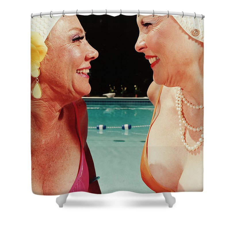 Mature Adult Shower Curtain featuring the photograph Two Women By Pool by Silvia Otte
