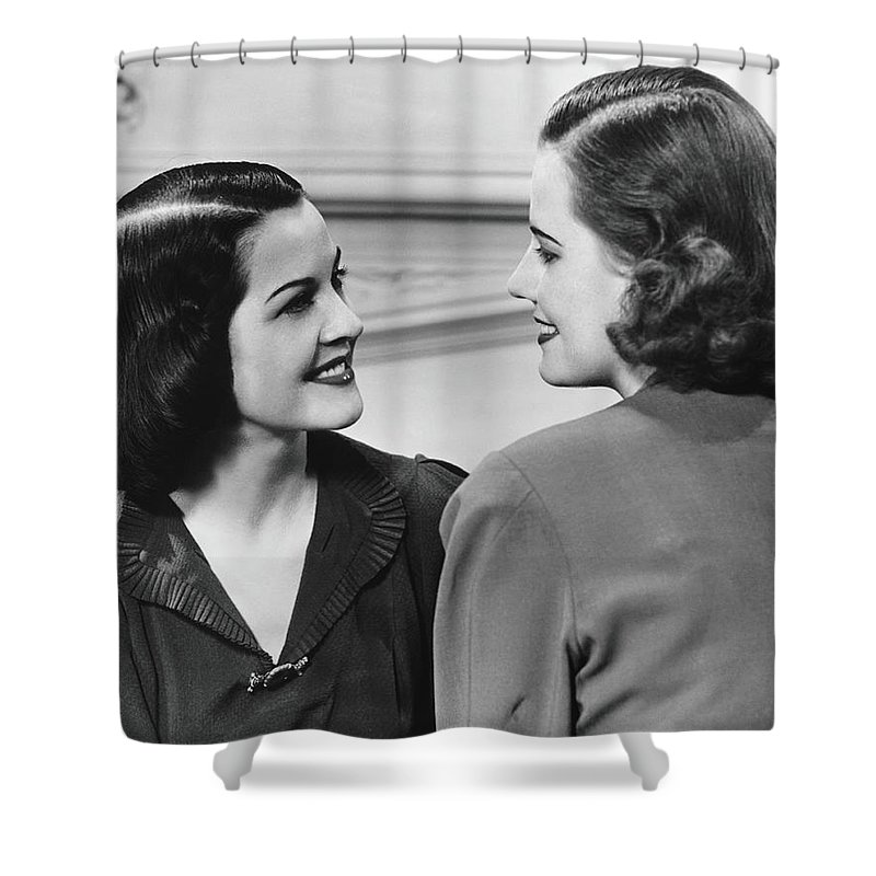 People Shower Curtain featuring the photograph Two Women Conversing In Living Room, B&w by George Marks