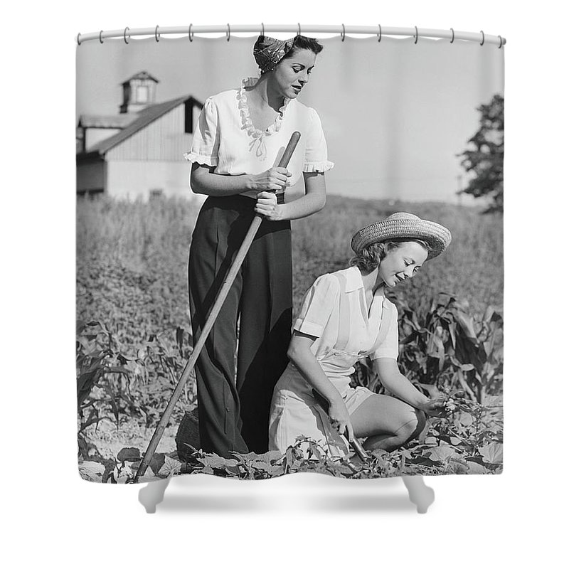 Straw Hat Shower Curtain featuring the photograph Two Women Working On Field, B&w by George Marks