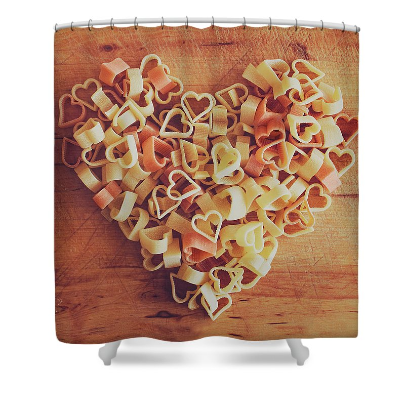 Italian Food Shower Curtain featuring the photograph Uncooked Heart-shaped Pasta by Julia Davila-lampe
