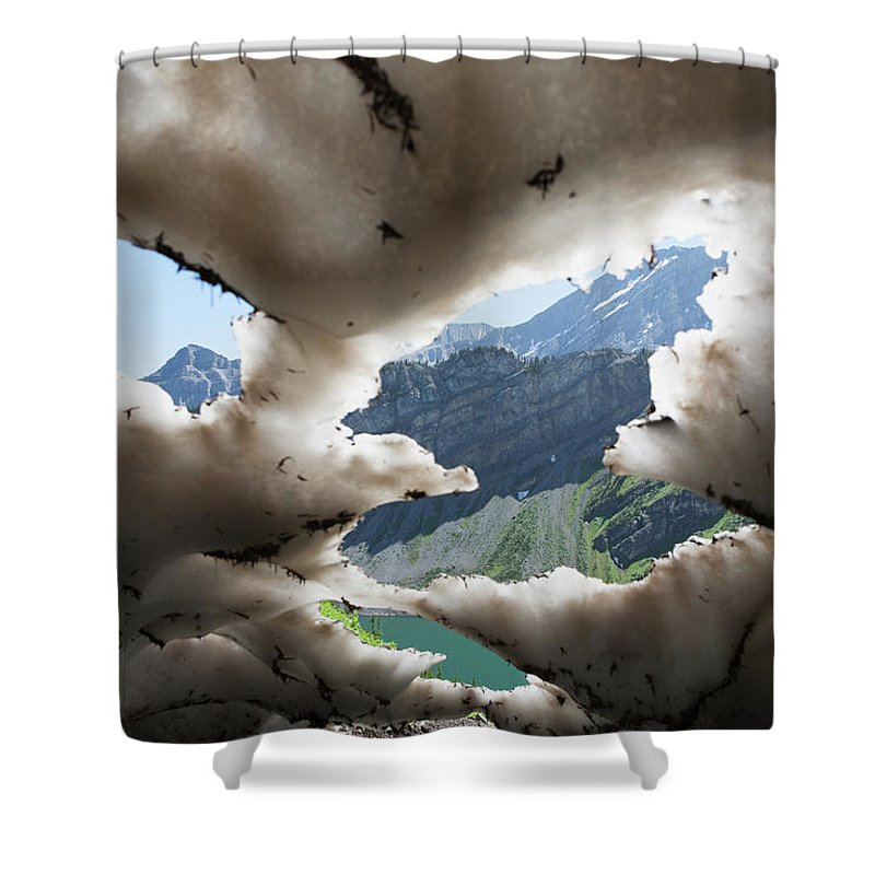 Scenics Shower Curtain featuring the photograph Underneath A Melting Snow Pack With by Michael Interisano / Design Pics