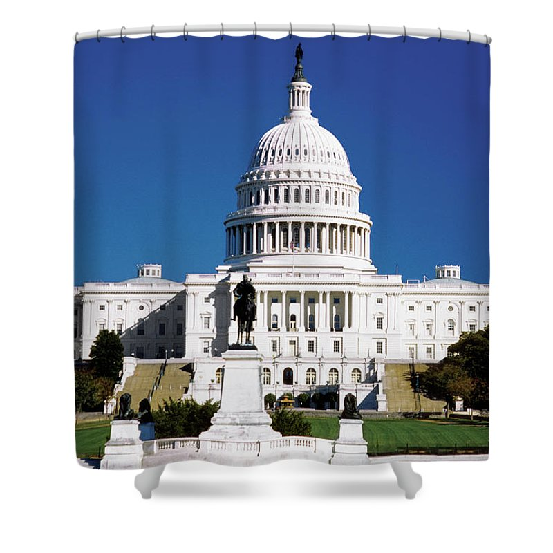 Statue Shower Curtain featuring the photograph U.s. Capitol Building In Washington by Medioimages/photodisc