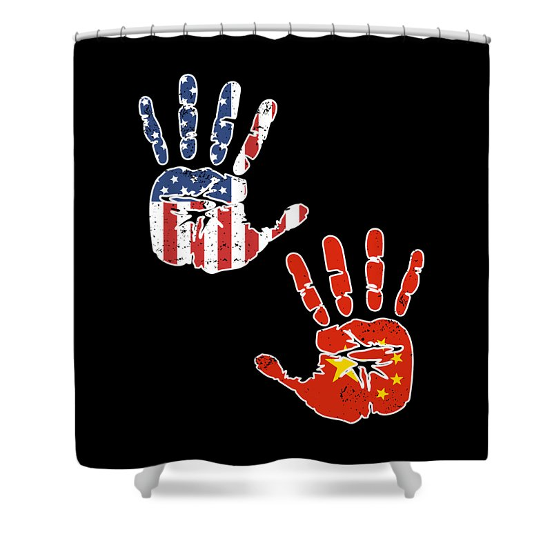 Usa China Handprint Flag Proud Chinese American Heritage Biracial American Roots Culture Descendents Shower Curtain
